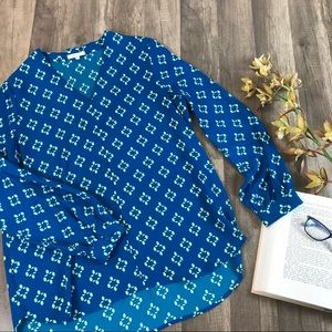 Pleione • Bright Blue Diamond Long Sleeve Blouse